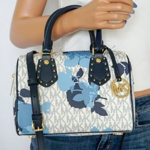 NWT Michael Kors Aria Small Satchel Navy Floral